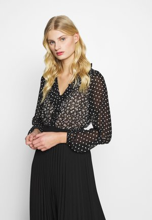 SPOT RUFFLE DETAIL  - Blouse - black/cream