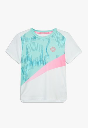 AKOFA TECH TEE - Camiseta estampada - white/mint/pink