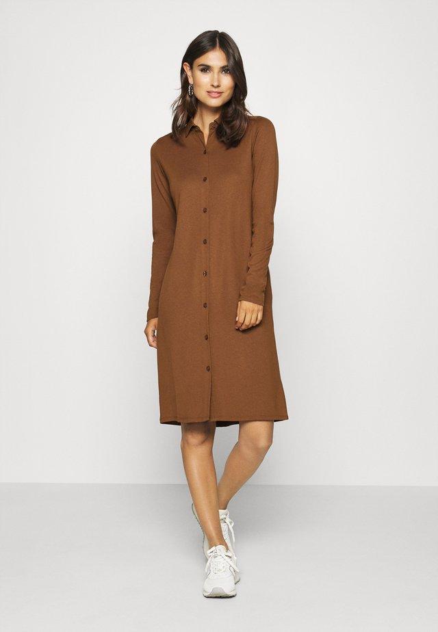 DRESS LONG SLEEVE COLLAR BUTTON PLACKET - Jerseyjurk - chestnut brown