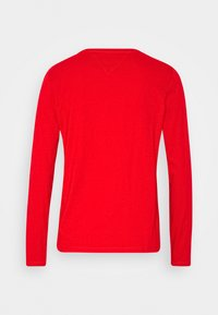 Tommy Jeans - V NECK LONGSLEEVE - Long sleeved top - deep crimson - 1