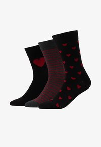 Pier One - 3 PACK - Chaussettes - black/dark red - 1