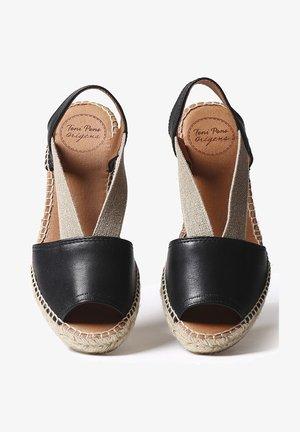 TEIDE - Wedge sandals - black