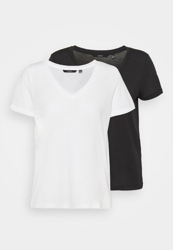 VMSPICY V NECK 2 PACK - Camiseta básica - black/snow white