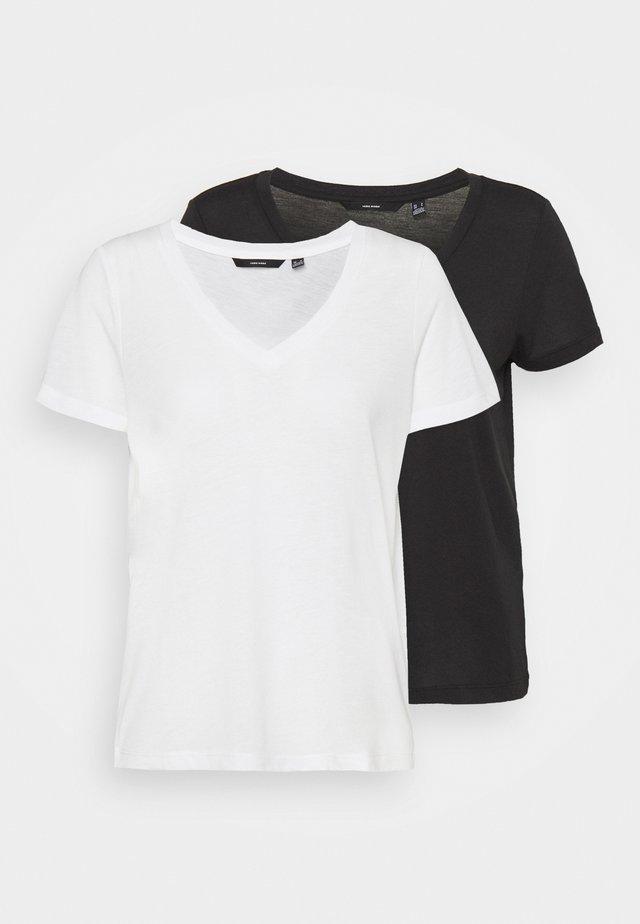 VMSPICY V NECK 2 PACK - Basic T-shirt - black/snow white