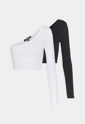 ONE SHOULDER CROP 2 PACK - Long sleeved top - black/white