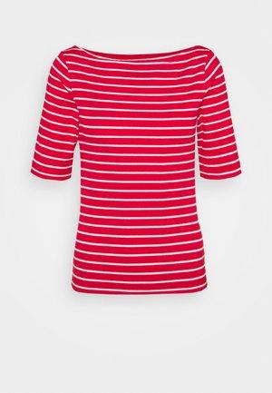 BOATNECK - T-shirt med print - red white