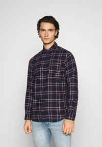 Jack & Jones - JJPLAIN CHECK - Skjorta - navy blazer - 0