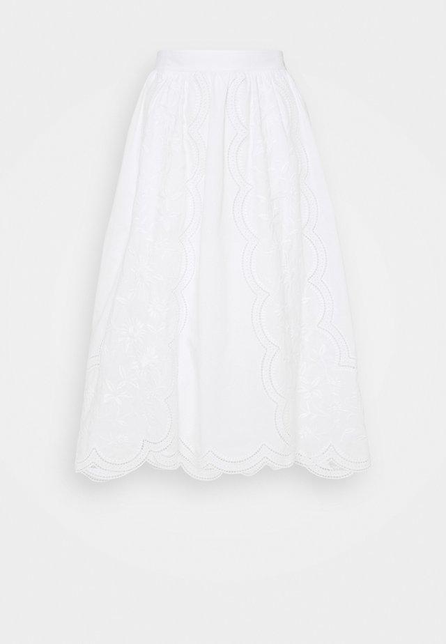 EMBROIDERED SKIRT - A-lijn rok - white