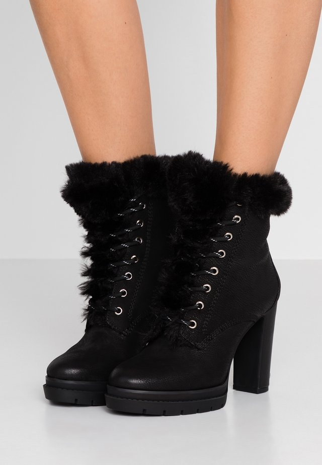 DARCY LACE UP BOOTIE - High heeled ankle boots - black