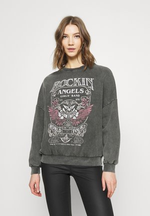 Printed Oversized Sweatshirt - Sweatshirt - grey