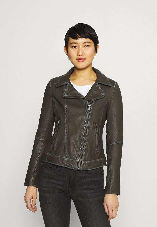 FOLLOW - Leather jacket - snow khaki