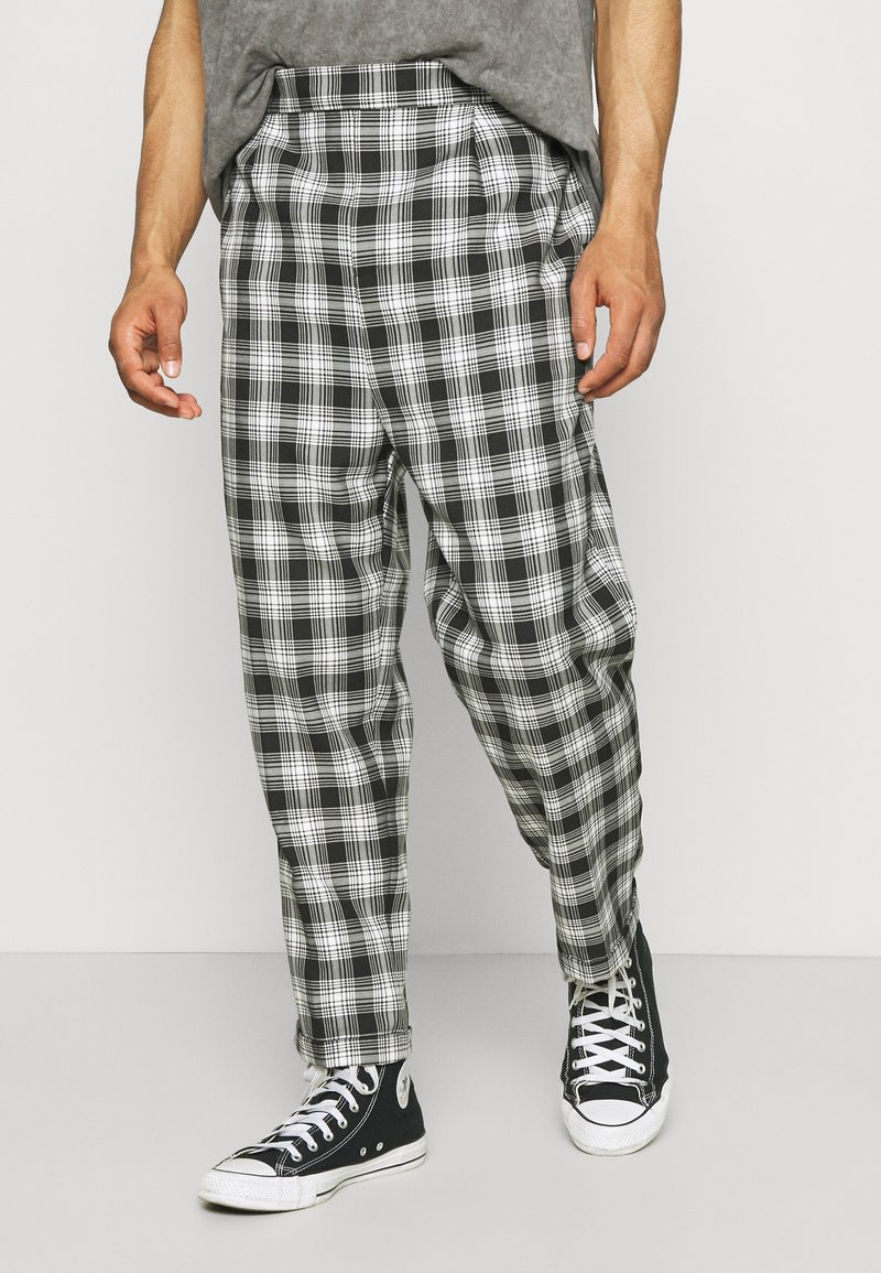 Vintage Supply - CASUAL CHECK TROUSER - Trousers - grey