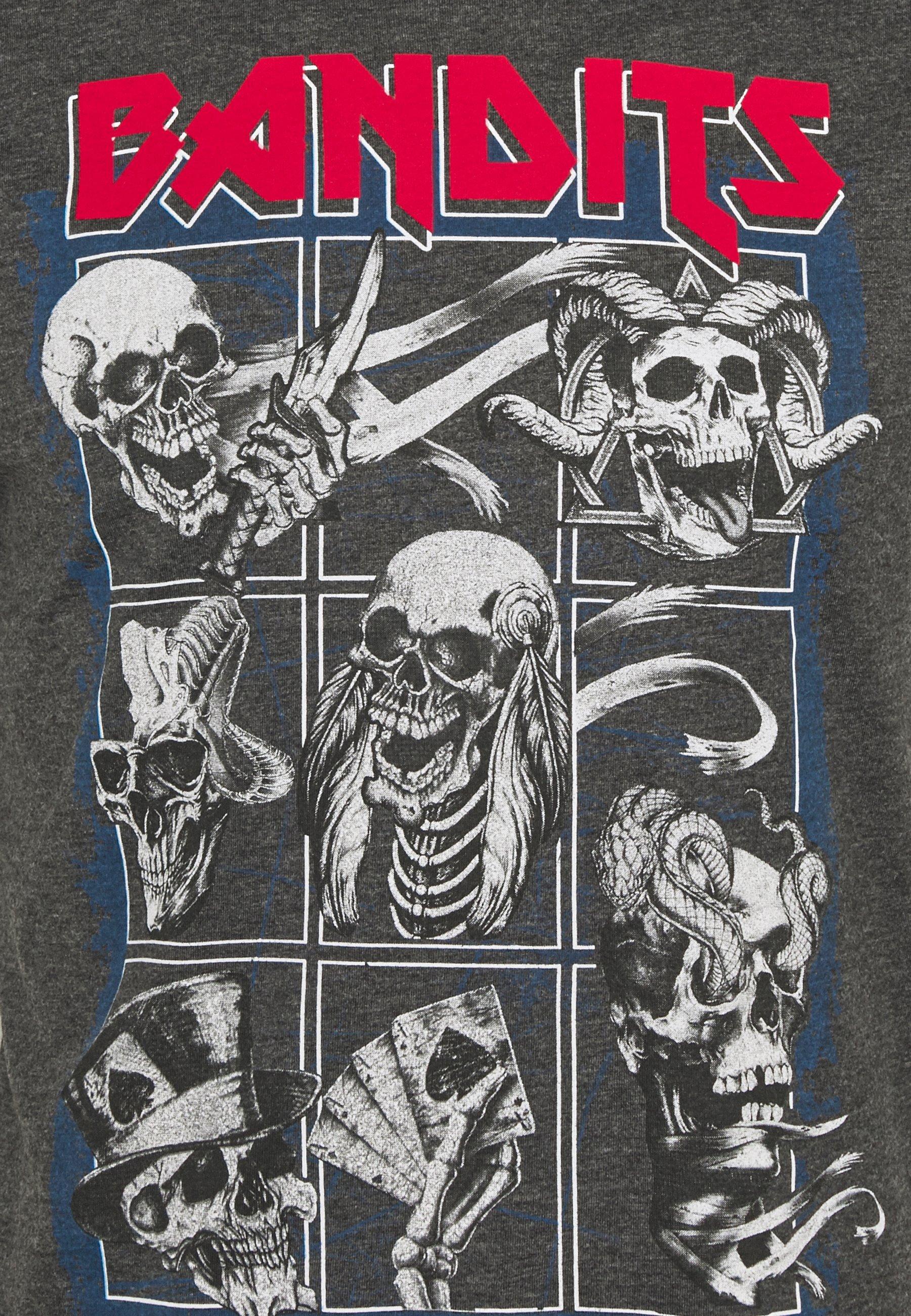 Brave Soul BANDIT - Print T-shirt - dark charcoal Nq0mb