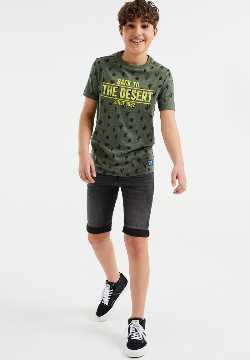 WE Fashion - Print T-shirt - dark green