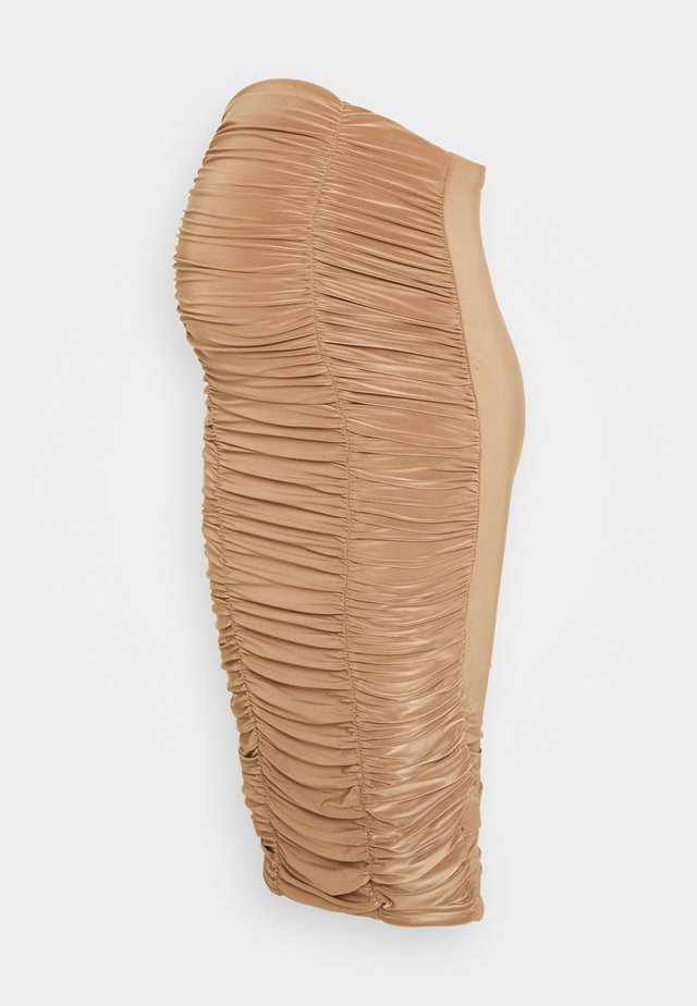 RUCHED FRONT SLINKY SKIRT - Pencil skirt - camel