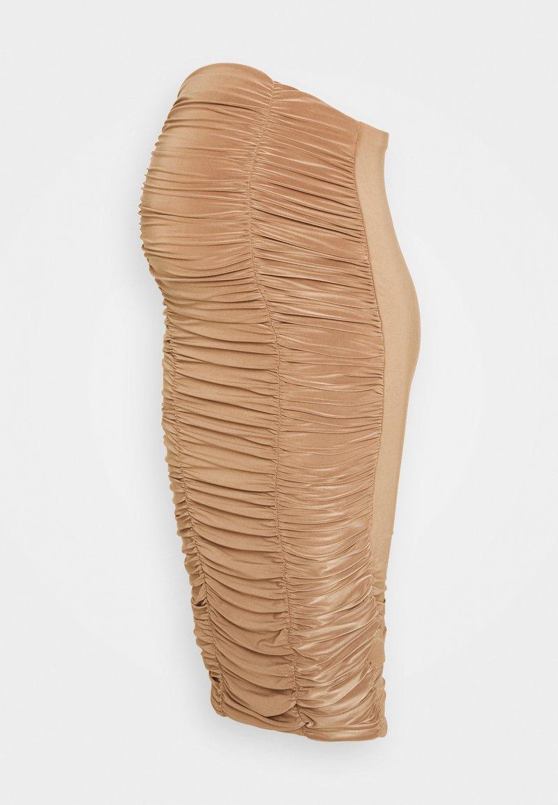 Missguided Maternity - RUCHED FRONT SLINKY SKIRT - Pouzdrová sukně - camel