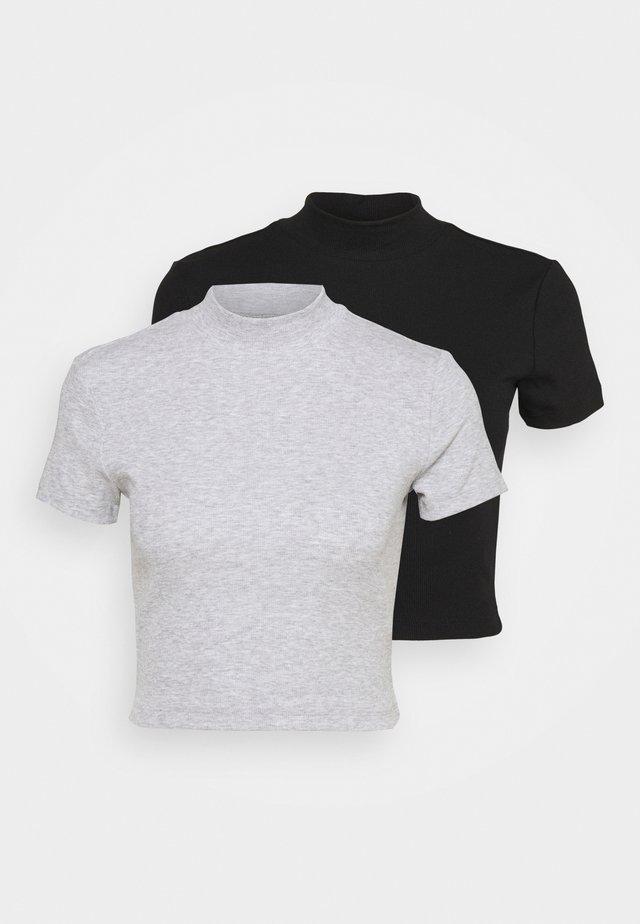 2 PACK - Jednoduché triko - black/grey