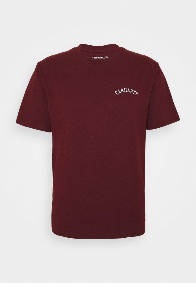 UNIVERSITY SCRIPT  - T-shirt basic - bordeaux/white