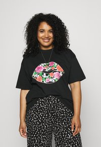 Simply Be - FLORAL LIPS SLOGAN - Print T-shirt - black - 0