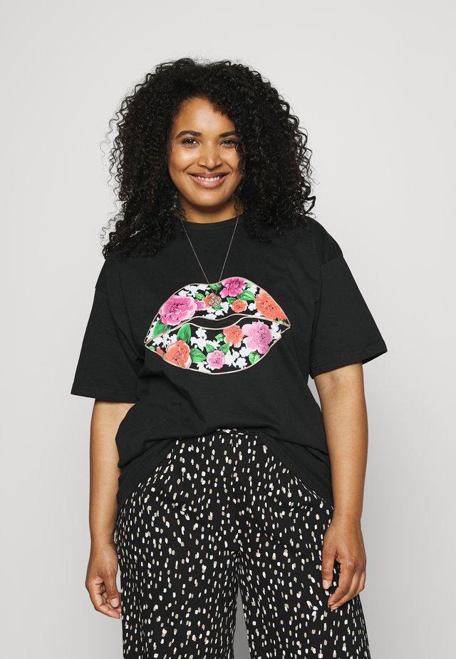 FLORAL LIPS SLOGAN - T-shirt imprimé - black