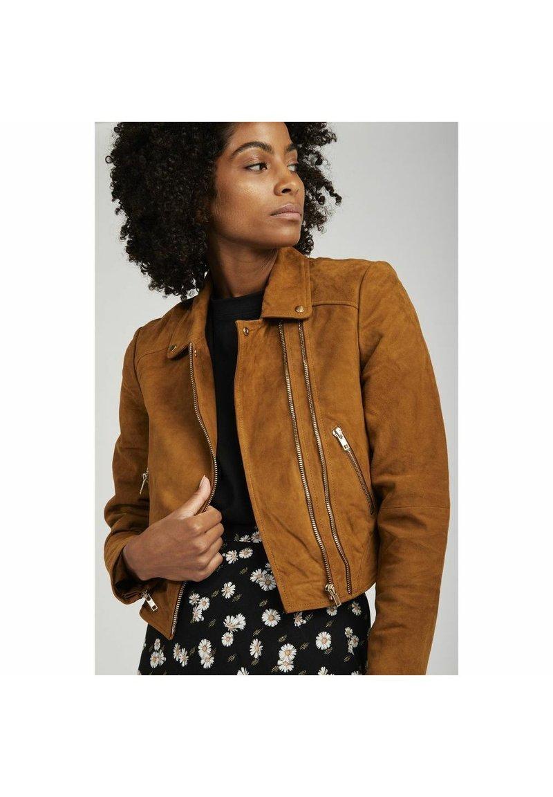 NAF NAF - Leather jacket - beige