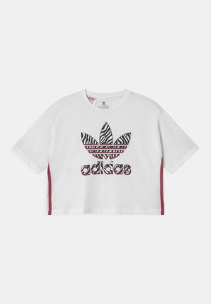 CROPPED TREFOIL  - Print T-shirt - white/multicolor/wild pink