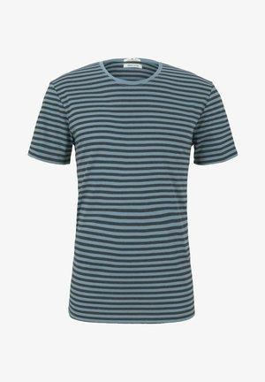 Print T-shirt - aqua blue melange stripe