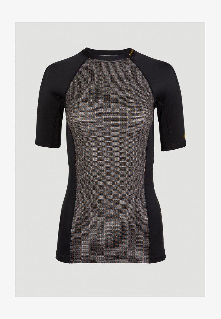 O'Neill - ANGLET  - Rash vest - black with yellow
