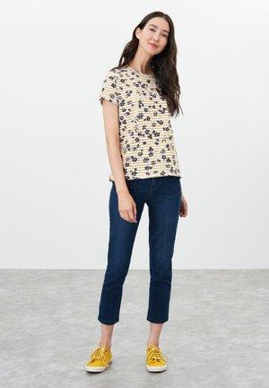 Print T-shirt - cremefarben gold floral streifen