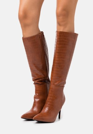 PRESIDENT - High heeled boots - cognac