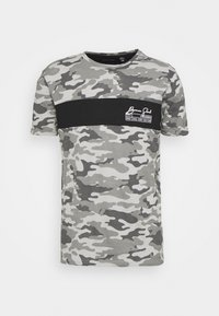 GECKO - Print T-shirt - grey/ jet black/optic white