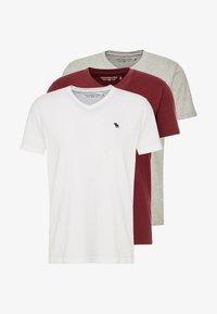 Abercrombie & Fitch - FALL FRINGE VEE 3 PACK - Basic T-shirt - grey/burgundy/white - 3