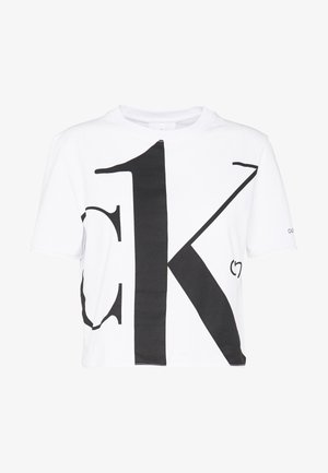 CK ONE BIG LOGO MODERN STRAIGHT CROP - Print T-shirt - bright white
