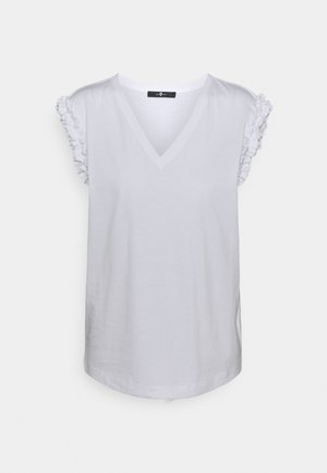 V NECK  - T-shirt z nadrukiem - white