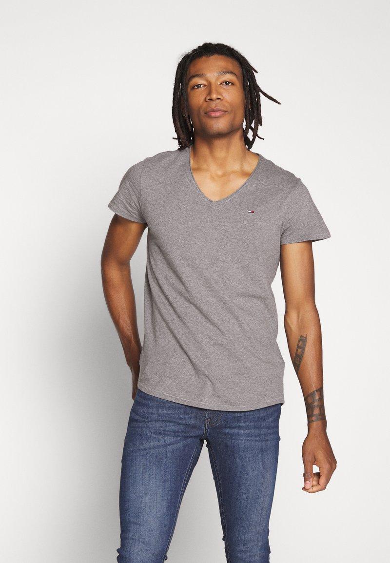 Tommy Jeans - VNECK TEE - Basic T-shirt - dark grey