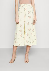 Glamorous - MIDI SKIRTS WITH FRONT SPLIT - A-line skirt - yellow/pink - 0