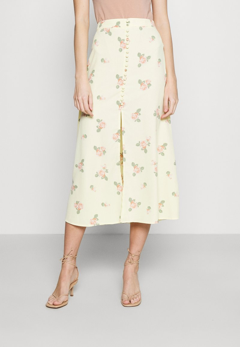 Glamorous - MIDI SKIRTS WITH FRONT SPLIT - A-line skirt - yellow/pink