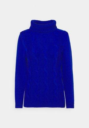 SLIM POLONECK JUMPER - Stickad tröja - cobalt