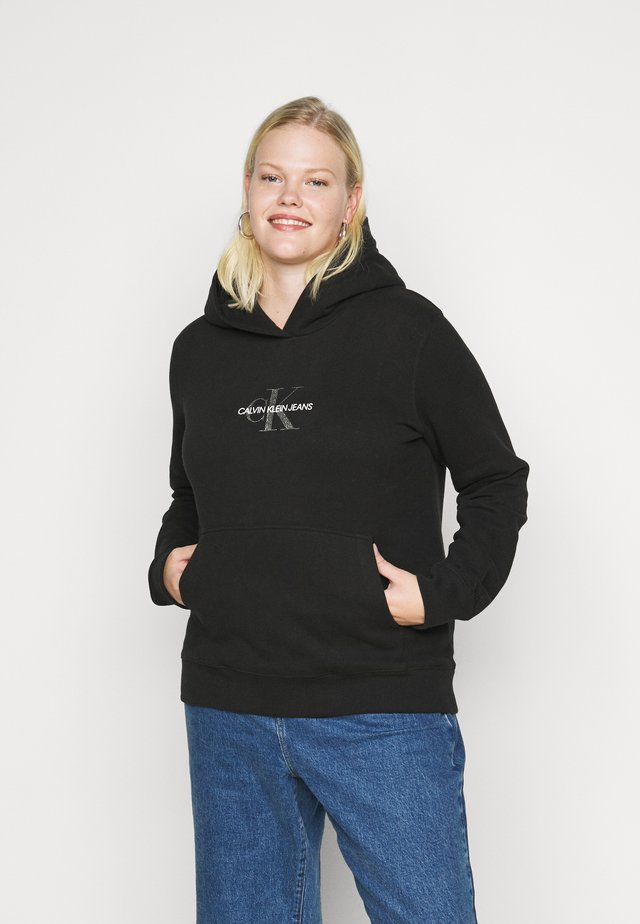 GLITTER MONOGRAM HOODIE - Sweater - black