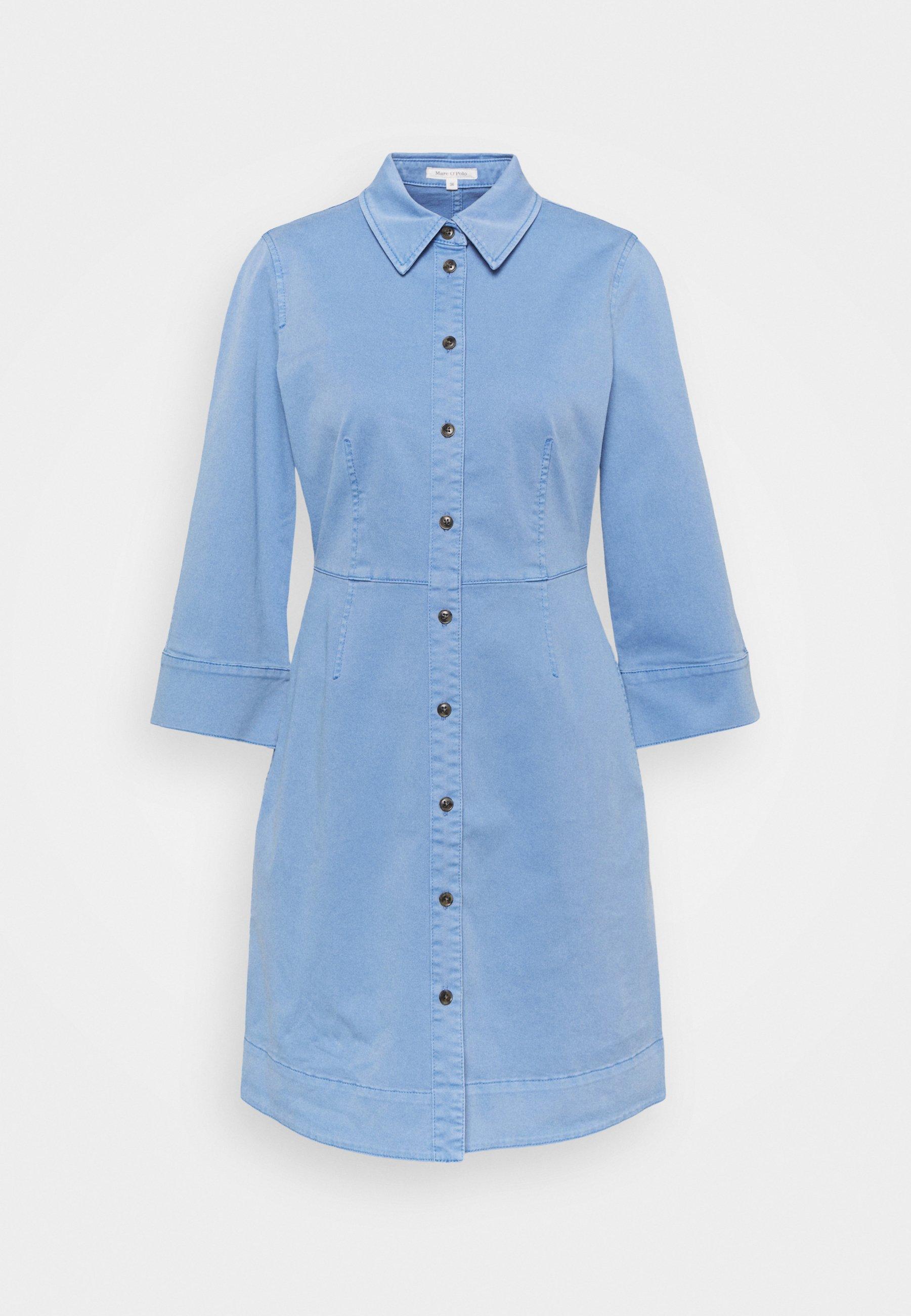 Women DRESS SHORT SHIRT STYLE,BUTTON PLACKET ROUNDED HEMLINE - Shirt dress