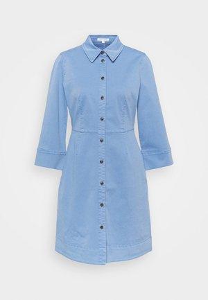 DRESS SHORT SHIRT STYLE,BUTTON PLACKET ROUNDED HEMLINE - Shirt dress - blue