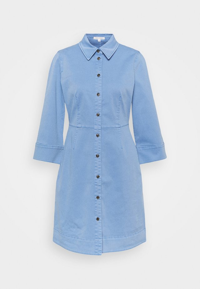 DRESS SHORT SHIRT STYLE,BUTTON PLACKET ROUNDED HEMLINE - Shirt dress - blue