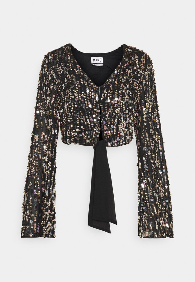 ZIA TOP - Camicetta - black/gold/silver-coloured