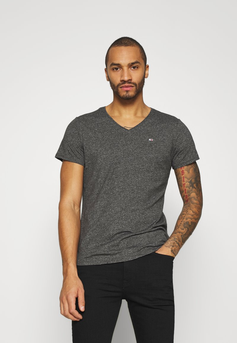 Tommy Jeans - SLIM JASPE V NECK - T-shirt basic - black