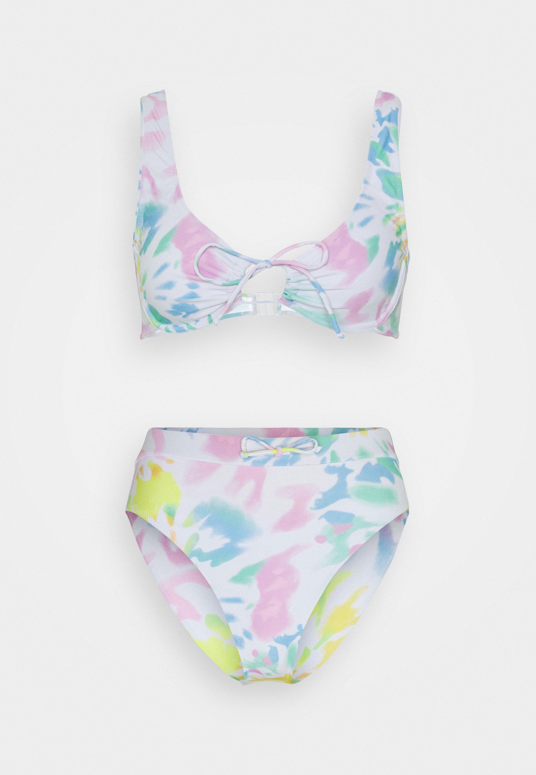 Women UNDERWIRE TIE FRONT TIE DYE AND HIGH WAIST BOTTOMS SET - Bikini