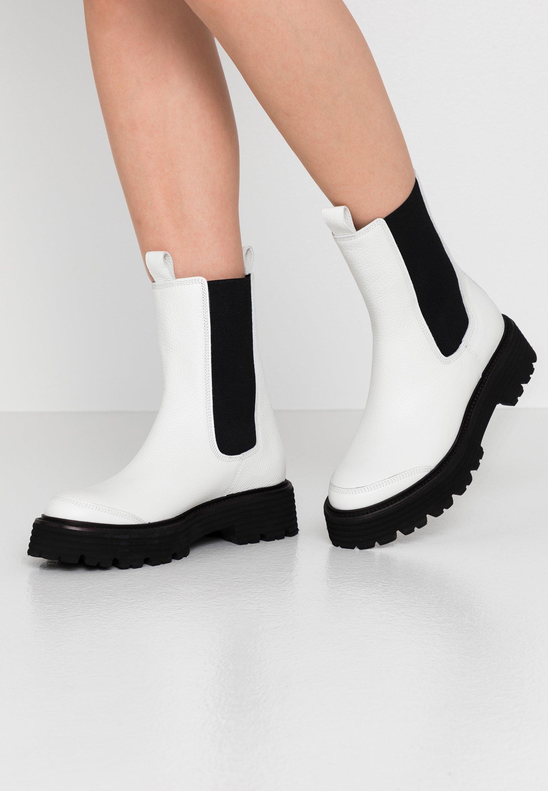 Women POWER - Platform ankle boots - white