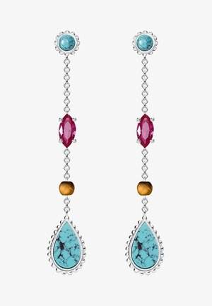RIVIERA COLOURS - Earrings - silver coloured, turquoise, red, brown