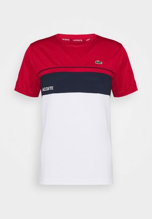 TENNIS BLOCK - T-shirt z nadrukiem - ruby/white/navy blue