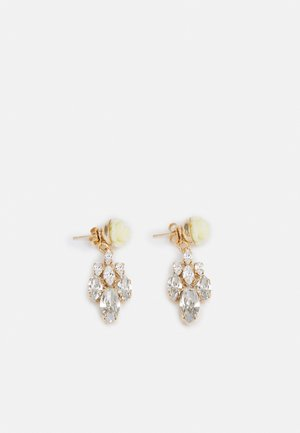 POST FLOWER WITH CRYSTAL DIAMOND SHAPE - Earrings - cream