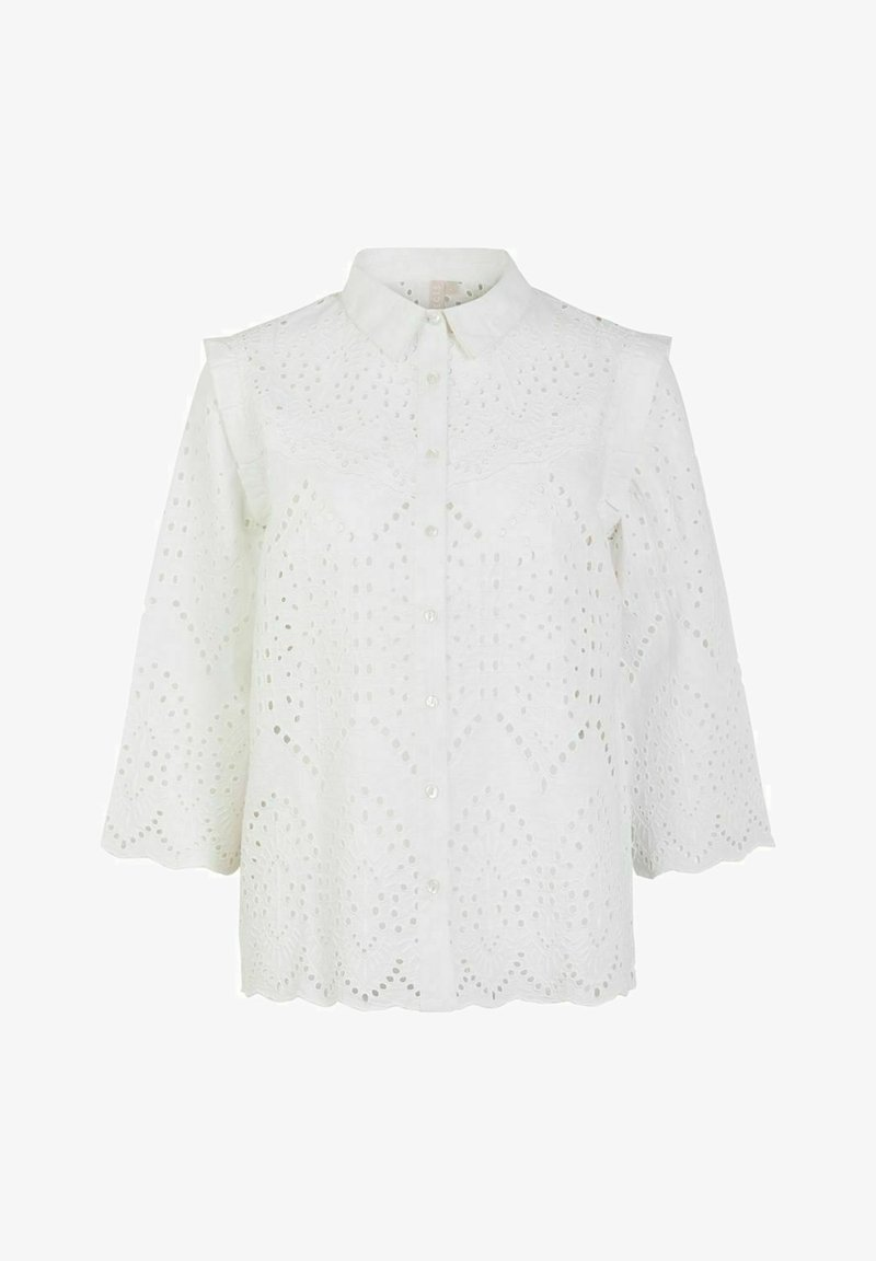 Pieces - OBERTEIL LOCHSTICKEREI - Camisa - bright white